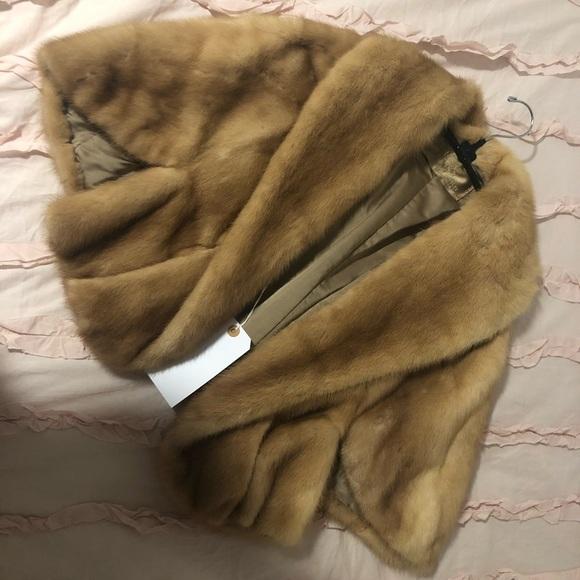 Vintage Jackets & Blazers - Vintage mink shawl 100% genuine fur